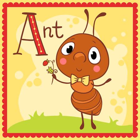 alfabeto con animales: Una letra del alfabeto y la hormiga se ilustra. Animales. Vectores