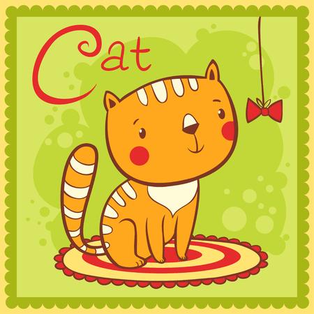 cat alphabet: Illustrated alphabet letter C and cat. Animals.