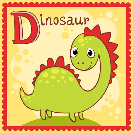 yong: Illustrated alphabet letter D and dinosaur. Animals. Illustration