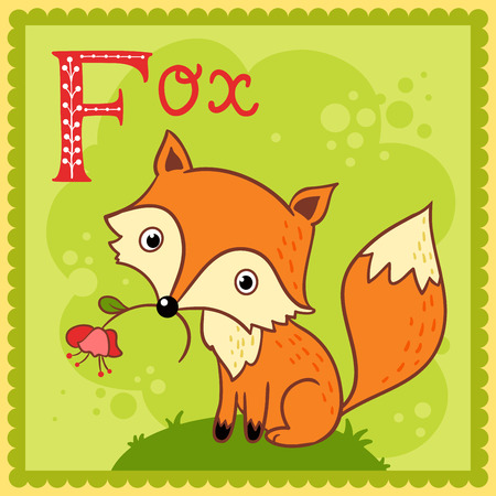 flower alphabet: Illustrated alphabet letter F and fox. Animals.