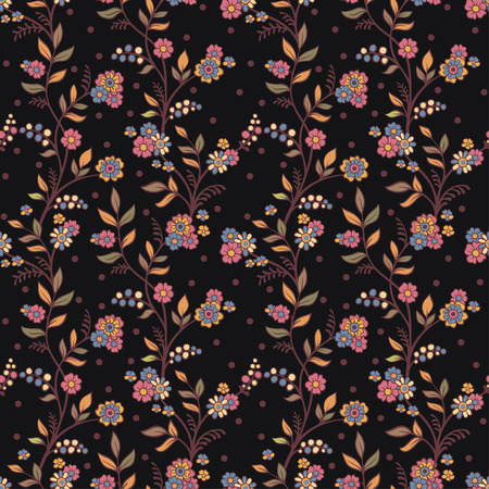 retro flowers: Retro romantic floral background with flowers. Vector floral seamless pattern. Illustration