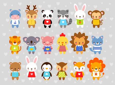 만화 스타일 벡터 동물의 집합입니다. 회색 배경에 귀여운 동물. 아이들의 스타일에서 작은 동물의 컬렉션입니다. 아프리카, 열대, 남극 대륙, 농장, 숲