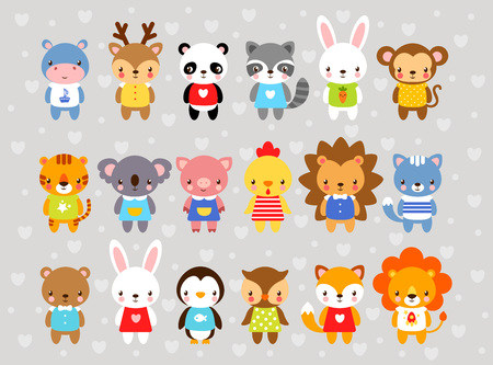 Set of vector animals in cartoon style. Cute animals on a gray background. A collection of small animals in the childrens style. Africa, tropics, antarctica, farm, forest.