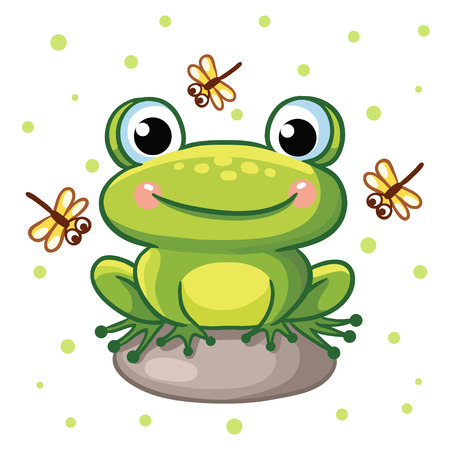 green cute: Vector illustration of a frog on a rock and crystals on a background of green peas. Cute frog sitting on a rock and smiling.