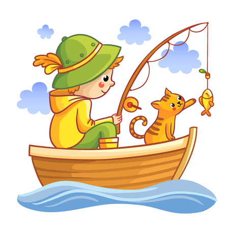 bobber: Fishing vector illustration. Boy in a boat fishing with cat. Cartoon Fisherman.