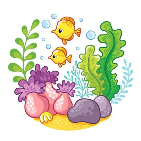 artoon: artoon underwater life. Vector illustration. Cartoon concept of wildlife in the ocean. Illustration
