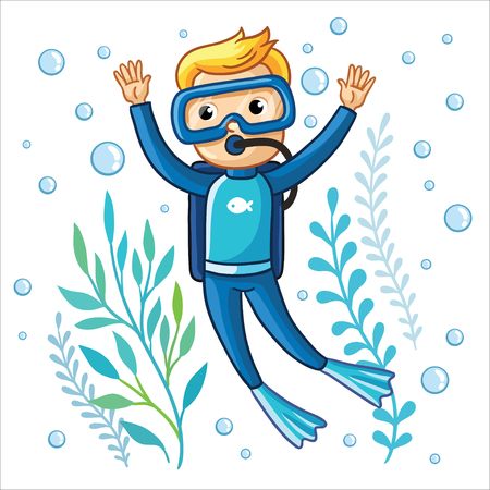 swims: Young diver swims under water among seaweed and air bubbles on a white background. Cute vector illustration of a childrens theme. Illustration