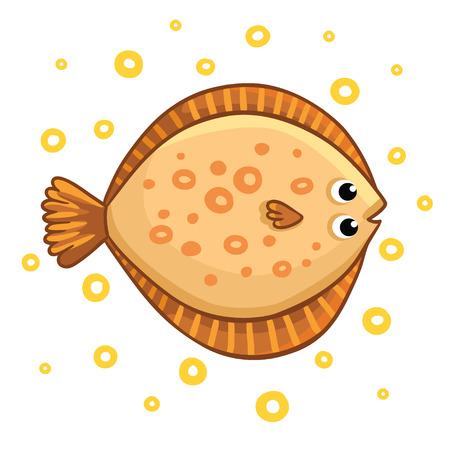 Cute cartoon flatfish isolated. Flatfish on a white background, vector illustration.