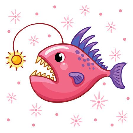 angler: Cartoon angler fish. Character design angler fish.
