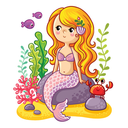 Sea collection, Mermaid. Cute cartoon mermaid sitting on a rock. Mermaid, fish and crab in vector illustration. Illustration