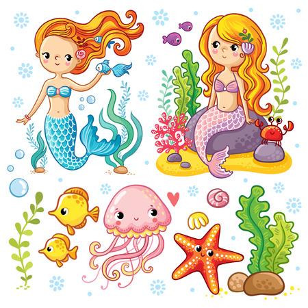 Vector set on the marine theme with mermaids and sea animals made in cartoon style. Mermaid with fish. Mermaid with fish and crab sitting on the rocks. Jellyfish and starfish with seaweed.