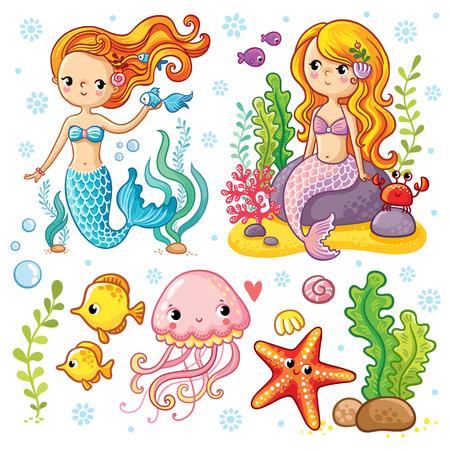 Vector ingesteld op het mariene thema met zeemeerminnen en zeedieren gemaakt in cartoon-stijl. Zeemeermin met vis. Zeemeermin met vissen en krab zittend op de rotsen. Kwallen en zeesterren met zeewier.