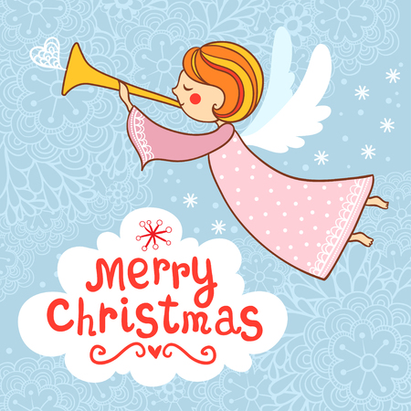 year s: Greeting card, Christmas card with Christmas angel. New year s card. Illustration
