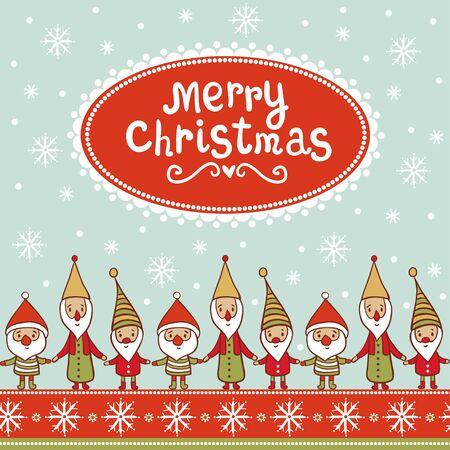 gnomos: sin patr�n de Navidad con gnomos. Modelo con los elfos de Navidad y copos de nieve. Vectores