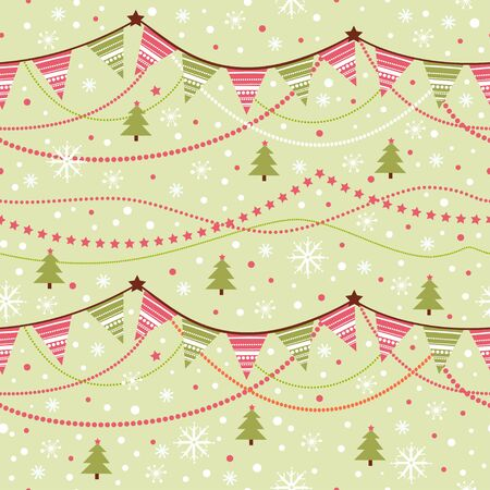 pennant bunting: Party pennant bunting. Christmas seamless pattern with garland and snowflakes in cartoon style.