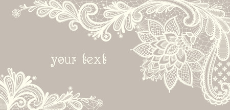 Card with a white lace. Floral Background. Vector greeting card. Wedding invitation. Vettoriali