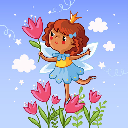 painted face: Cute little girl on a flower. The girl with a flower in her hand on the cloudy background. Vector illustration. Drawing on children theme. Little princess on a flower. Girl with tulips.
