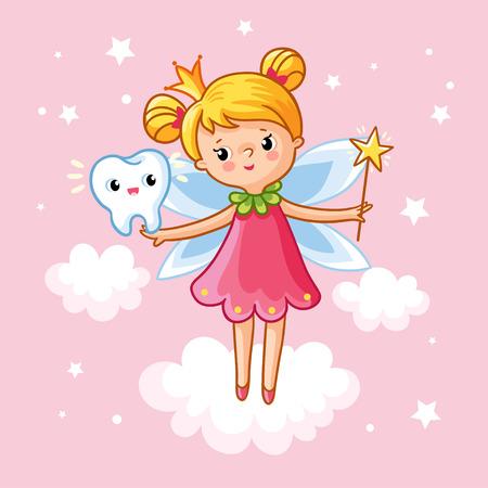 Het kleine meisje prinses met een toverstokje en tand tussen de wolken op een roze achtergrond. Vector illustratie op het thema van de kinderen. Tooth Fairy in de wolken. Magie.