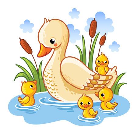Vector illustratie van een eend en eendjes. Moeder eend zwemt in het meer met kleine eendjes rond gras. Farm vogel eend in cartoon-stijl.