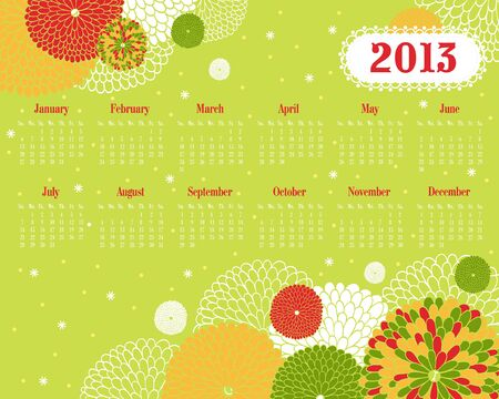 thursday: Vector calendar. Illustration with multi-colored flowers on a green background.