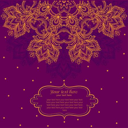 diameter: Vintage invitation card with lace ornament. Template frame design for card.