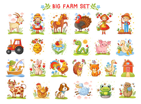 Set of vector illustrations of farm animals. A collection of farm animals and wild animals. A Big farm. Ilustração