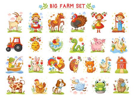 Set of vector illustrations of farm animals. A collection of farm animals and wild animals. A Big farm. Stock Illustratie