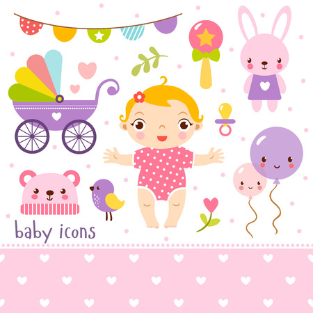 cute baby girl: Cute cartoon baby girl set. Baby icons set. Illustration