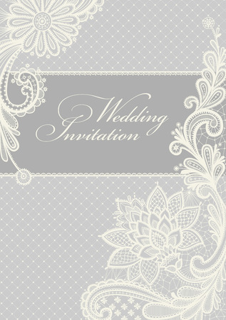 a place for the text: Wedding invitation. Lace background with a place for text. Vintage lace vector design. Illustration
