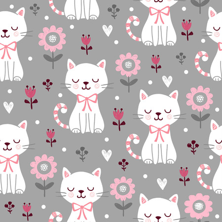 squinting: Seamless pattern with cute cats
