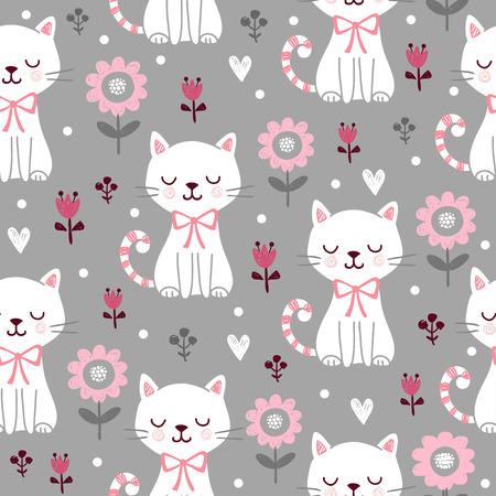 Nahtloses Muster mit niedlichen Katzen