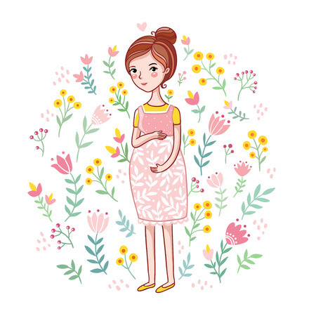 fondle: A young pregnant woman on a floral background. Future mother among on a white background