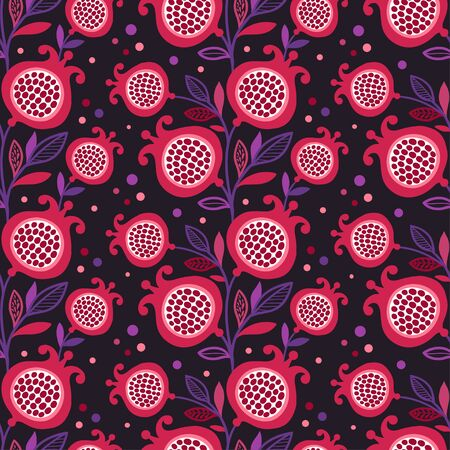 pomegranate juice: seamless pattern with red pomegranate fruit on a black background