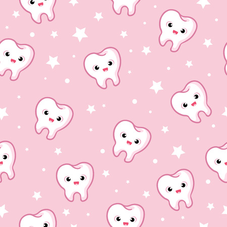 seamless illustration with teeth on a pink background  イラスト・ベクター素材