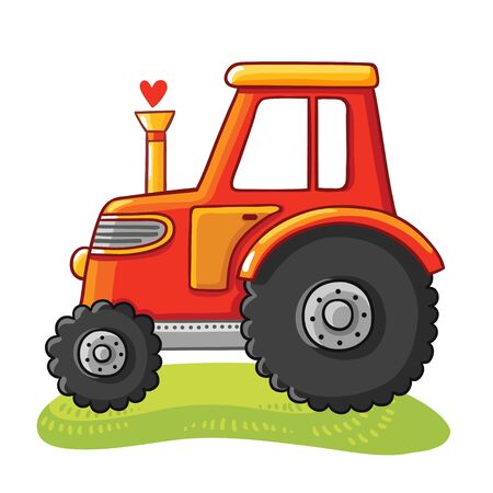 rides: Cute tractor in a clearing. Tractor rides on the field on a white background. Illustration