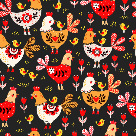 cluck: illustration of a rooster, hens and chickens on a black background. Animal pattern. Domestic bird.