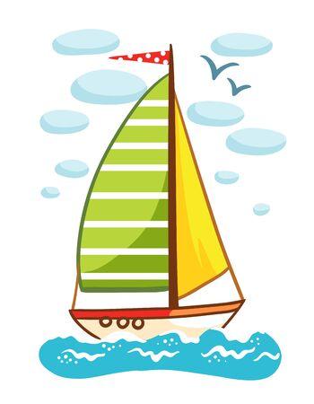 Illustrazione vettoriale di una barca a vela sul mare. Nave con una bandiera che galleggia sulle acque su uno sfondo di nuvole. Immagine in stile cartoon.