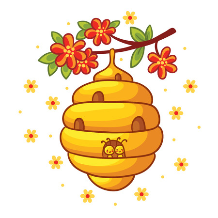weighs: Beehive weighs on a branch with flowers. Vector illustration in cartoon style. Childrens picture with the bees.