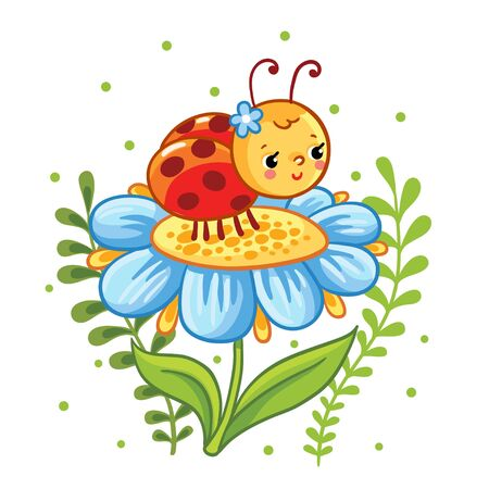 cartoon flower: Vector illustration in cartoon style. Ladybug sitting on a flower. Cute insect in the flowers.