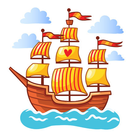 the children s: Sailing ship floating in the water. Vector illustration of a ship at sea among the clouds on a white background. The picture in the children s cartoon style. Illustration