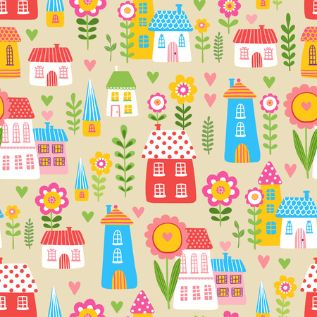 the children s: Vector seamless pattern with a cute children s houses and flowers on a beige background. The illustration of the houses and plants.