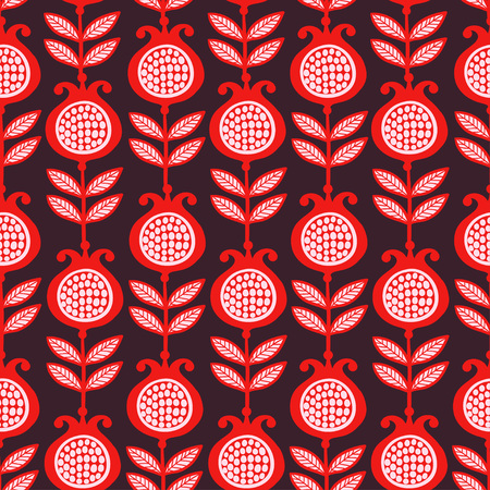 pomegranate juice: Vector seamless illustration of pomegranates. Bright garnet red with white grains on a dark background. Pattern.