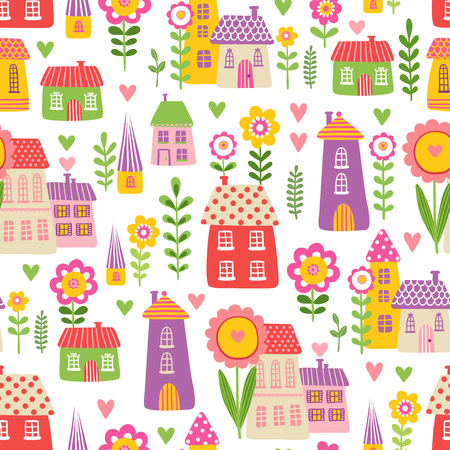 beige background: Vector seamless illustration of a cute children s cartoon style houses in among the flowers on a beige background. The pattern of the houses and plants.