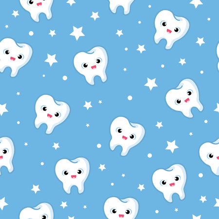 smile  teeth: Vector seamless illustration with merry teeth on a blue background. Children s illustration on the theme of dentistry. The pattern of teeth.