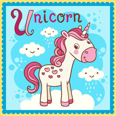알파벳 문자 U 및 유니콘을 보여줍니다. 만화 동물과 함께 벡터 그림입니다.