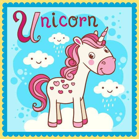 Illustrated alphabet letter U and unicorn. Vector picture with cartoon animals.