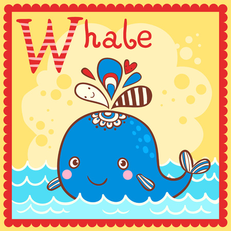 Illustrated alphabet letter W and whale. Vector picture with cartoon animals.