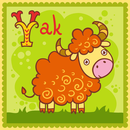 Illustrated alphabet letter Y and yak. Vector picture with cartoon animals.