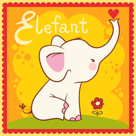 illustration of isolated animal alphabet E with elephant