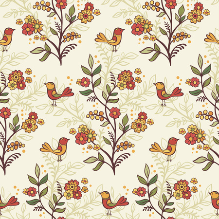 retro floral: Retro romantic floral background with flowers and birds.